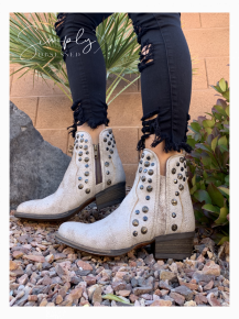 Corky's- Toledo distressed ankle booties with stud detail