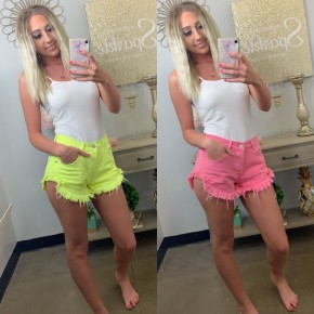 Neon high waisted shorts with a hidden 4-button fly