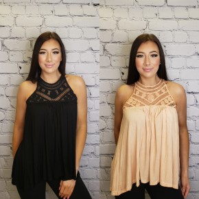 Crochet lace detailed tank top