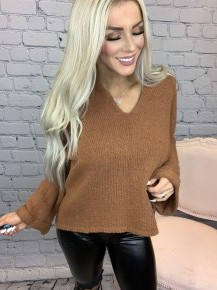 Wishlist- Cut v neck sweater with cuffed sleeves