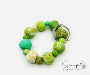 Botanical green Clay Key Ring