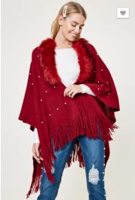 Hayden - Pearl faux fur sweater poncho