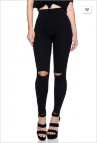 Solid high waist slim fit leggings with open knee keyhole