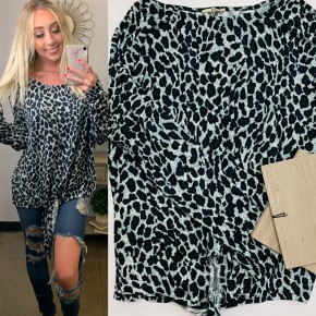 Easel - Leopard print brushed hacci knit tie front top