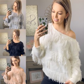 Main Strip- Round neck long sleeve feather knit sweater