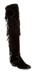 black knee high leather boots with fringe