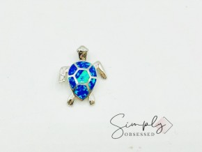 Sterling Silver Synthetic Opal Sea Turtle Necklace CZ Eyes