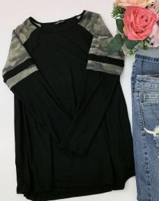 Heimish- Long sleeve top with camo shoulders