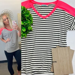 V neck striped top with solid shoulders
