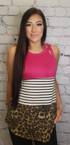 3-Block halter neck top with stripe mid panel and leopard bottom