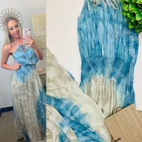 Tie-dye keyhole halter smocked-waist maxi dress