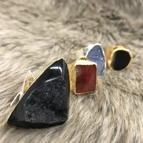 ADJUSTABLE DRUZY OR AGATE RINGS IN GOLD OR SILVER