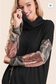 BiBi - Brushed hacci cowl neck top with camo and sequins on sleeves