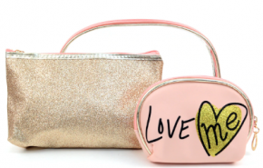 "Rose gold ""Love Me"" 3 in 1 makeup pouch set"