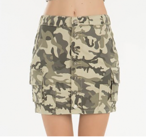 Camouflage print button down cargo style skirt