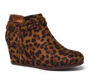 Brown leopard bootie w/ braided detail around ankle