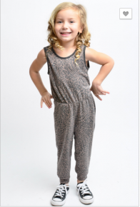 12 pm - Kids sleeveless leopard print jumpsuit