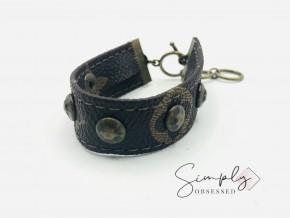 Brown Leather Bracelet W/ Bronze Studs & Clasp