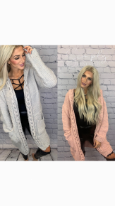 Very Moda- Hooded long cardigan with braided trim and pockets