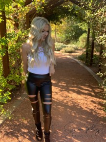 White Birch- Long high waist pleather leggings with cut outs