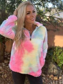 Glittering South - Tie dye rainbow sherpa with rainbow