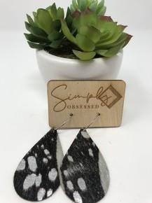 Teardrop Dark Brown & Cream Fur with Silver Leather Spots