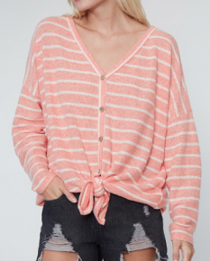 Dusty coral extra soft striped knit