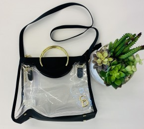 Capri Designs- Classic ring tote clear PVC with black and gold accent