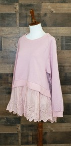 MAUVE LONG SLEEVE SWEATER WITH CROCHET TRIM DETAIL ON BOTTOM