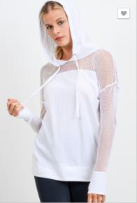 Mono B - Fishnet mesh combo hoodie athleisure top