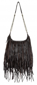 Brown fringe bag with gold adjustable chain handle