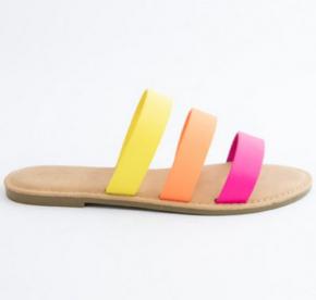 Strappy neon slip on sandals