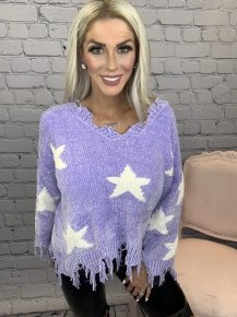 Oddi - Star print frayed edge chenille knit sweater