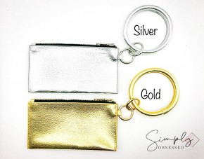 "Synthetic Leather Key Chain/Bracelet Clutch Drop 12"" Diameter: 4"" Clutch Size: 7.50"" x 4"""