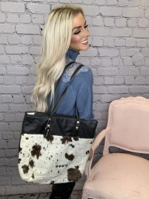 Myra Bag- Black Shades Hair-On Tote Bag