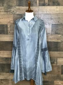 Dusty blue long sleeve flowy top with crochet lace detail