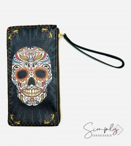 Wristlet With Colorful Candy Skull