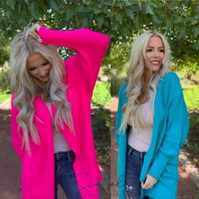 Honeyme - Neon long multi stitch knit cardigan