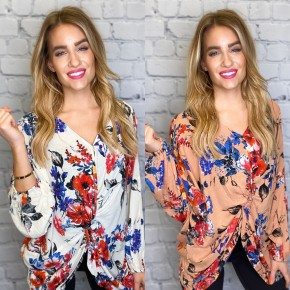HyFve - Floral buttoned top with front tied knot detail
