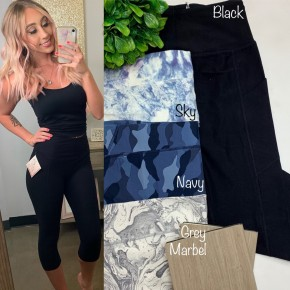 Eluminary- Black casualetic capri leggings with pockets