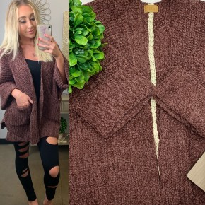 POL - Cable knit slouch cardigan with wide 3/4 sleeves