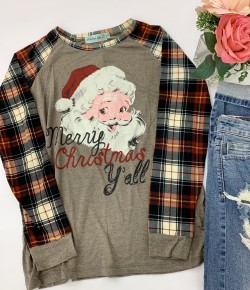 """Southern Grace- """"Merry Christmas Y'all"""" Graphic tee"""