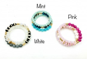 Glass Beaded Coil Wrap Bracelet in Mint, Pink, and White