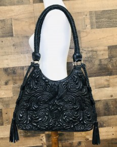Black embossed ebroidery leather hobo bag