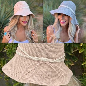 knitted hat with string around base