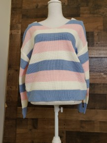 pink/blue cotton candy stripe sweater with twist detail on the back