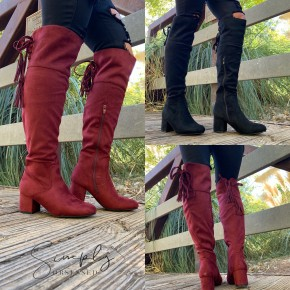 Nature Breeze- Tassel over knee heeled boots
