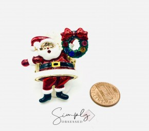 Jolly Santa Clause with Wreath Stretch Band Ring