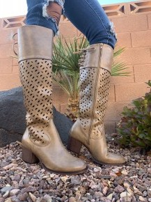 Corky's- Natural distressed knee high boots with side zipper