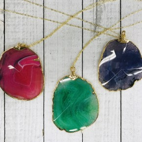 XXXL AGATE OR DRUZY PENDANTS IN GOLD